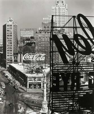 Black and White Architecture Prints: Columbus Circle, New York by Berenice Abbott