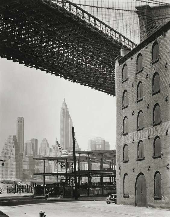 Brooklyn Bridge, Water and Dock Streets, Brooklyn by Berenice Abbott