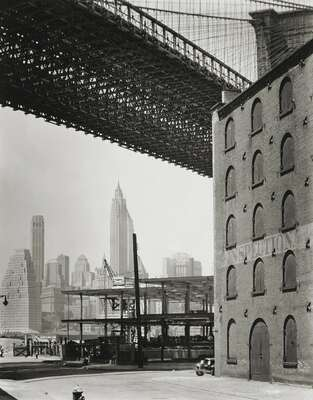 Famous architectural photographers: Berenice Abbott: Brooklyn Bridge, Water and Dock Streets, Brooklyn by Berenice Abbott