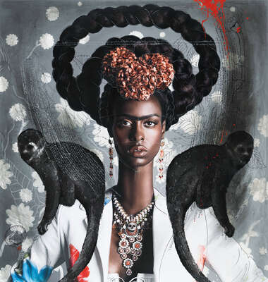 Frida Kahlo Artworks: Black Frida with Monkeys by Efren Isaza