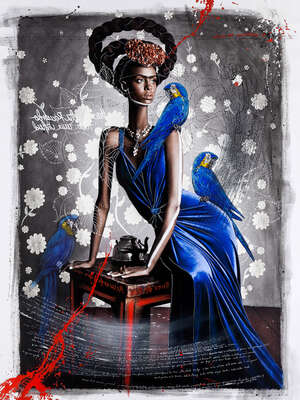 Frida Kahlo Artworks: Black Frida with Blue Macaws by Efren Isaza