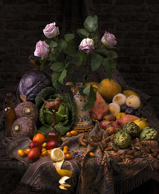 Curated kitchen Art: Still life with roses by Mark Seelen