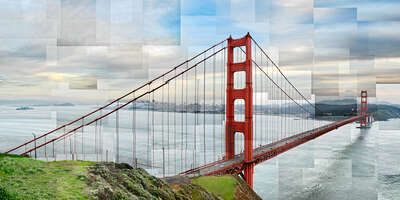 Lumas digital art prints: Golden Gate Panoramic by Pep Ventosa