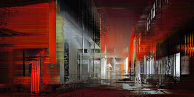 Curated abstract red artworks: Shanghai Projections VIII by Sabine Wild