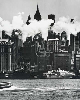 Hudson River waterfront, New York by Andreas Feininger