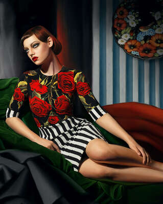 Art Prints: Fashion Photography Red Rose by Andrey Yakovlev & Lili Aleeva