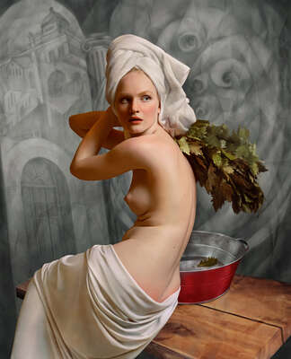 figurative art:  Bathing with a red basin by Andrey Yakovlev & Lili Aleeva