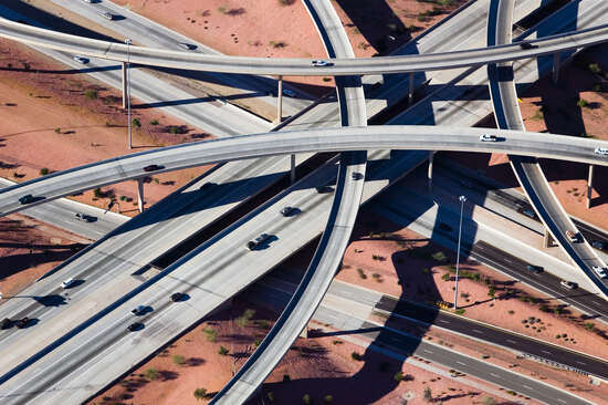 Crisscrossed Highway interchange, Phoenix, Arizona