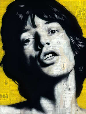 Curated abstract yellow artworks: Mick by André Monet