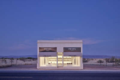 Curated blue artworks: Prada Marfa 7:04AM by Adam Mørk