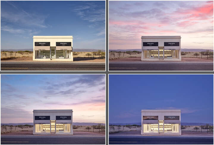 Prada Marfa from 7:04AM to 8:48PM by Adam Mørk