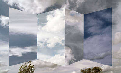 Surreal architecture and landscapes: Polyptych of clouds by Antonio Rojas