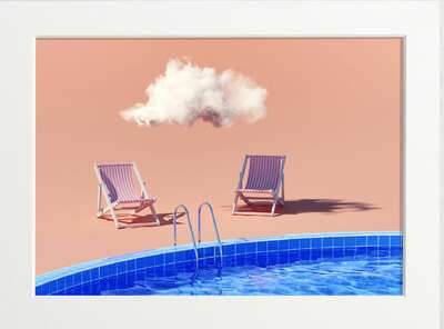 Lounge Chairs by the Pool by Art Now Collection
