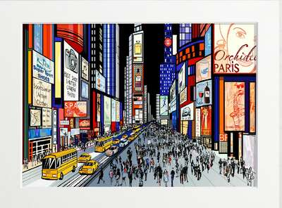 Night Time in New York Times von Art Now Collection