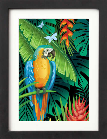 Tropical Jungle (Blue Macaw) by Art Now Collection