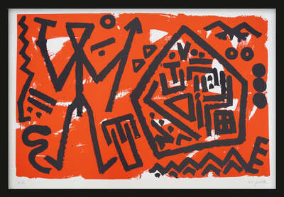 Abstract Wall Art  Pentagon rot by A.r. Penck