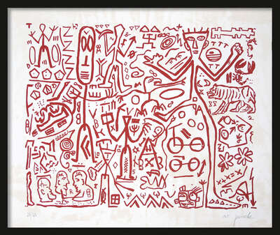 LUMAS home office art: Ohne Titel (Version Rot) by A.r. Penck