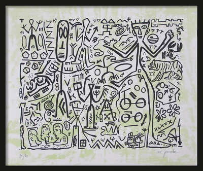 LUMAS fine art lithographs: Ohne Titel (Version Grün) by A.r. Penck