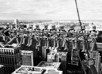 curated black and white art: Troopers' atop a Skyscraper by David Eger