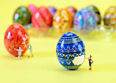 Easter Egg Artists at Work by Cathy Scola