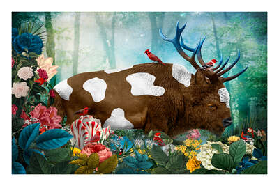 animal wall art:  Cervus Bos Bovinae Paradisus by Andre Sanchez