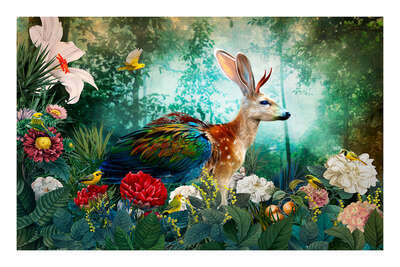 wall art wildlife prints animals  Lepus Dama Jackalope Paradeisos by Andre Sanchez