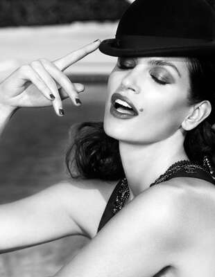 curated black and white art: Cindy Crawford by Warwick Saint