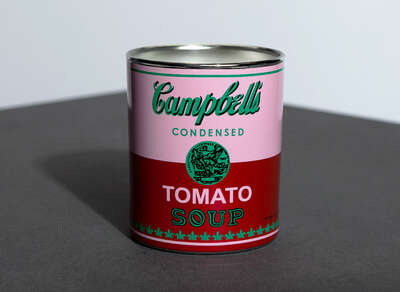 curated Pop Art artwork: CAMPBELL PINK/RED - Perfumed Candle by Andy Warhol