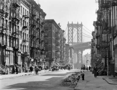 curated black and white art: Pike and Henry Street, Manhattan by Berenice Abbott