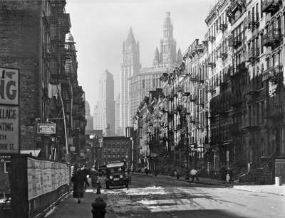 curated black and white art: Henry Street, Manhattan by Berenice Abbott