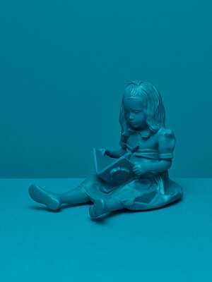 Girl & the Book Blue by Bloop Art