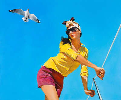 Beach Wall Art: Girl with a Seagull by Boglárka Nagy