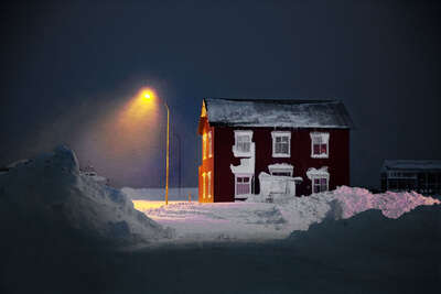 winter art: The Old Red House by Christophe Jacrot