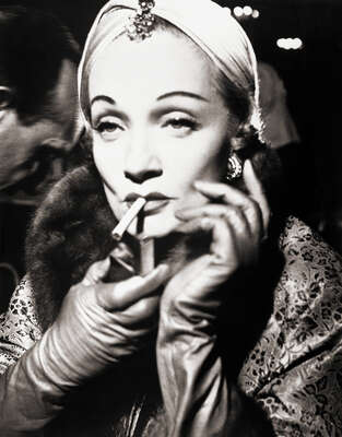 Celebrity Portrait Photography:  Marlene Dietrich Smoking in Dior Turban by Classic Collection I