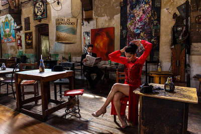 figurative art:  Tango - Woman in the Red Dress I by Christopher Pillitz