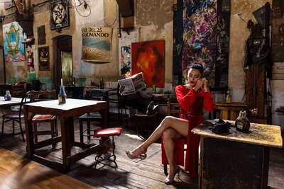 figurative art:  Tango - Woman in the Red Dress II by Christopher Pillitz