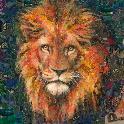 animal wall art:  Lion by Charis Tsevis