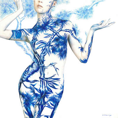 nude art photos  Blue White Porcelain 03 by Dallae Bae