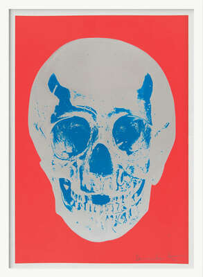 Till Death Do Us Part - Coral Red Silver Gloss True Blue Skull by Damien Hirst