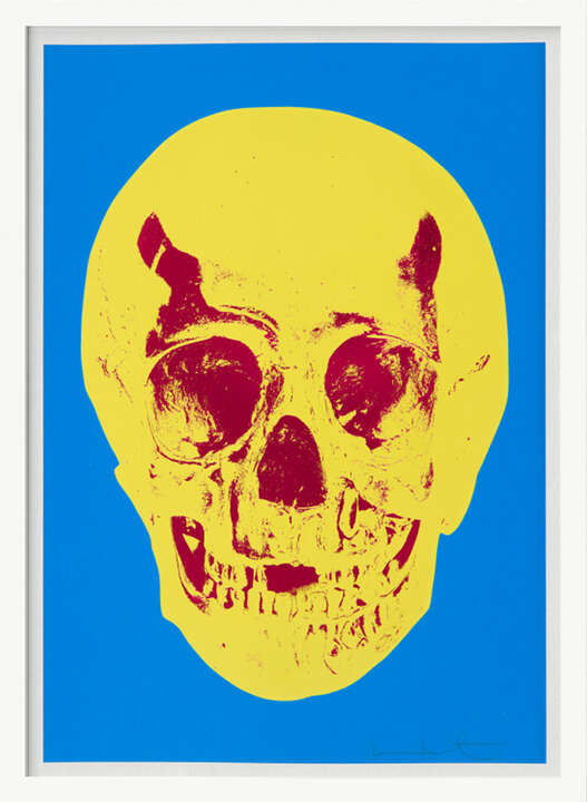Till Death Do Us Part - Cerulean - Blue Pigment Yellow Royal Red Pop Up Skull by Damien Hirst