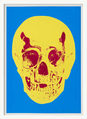 Till Death Do Us Part - Cerulean - Blue Pigment Yellow Royal Red Pop Up Skull von Damien Hirst