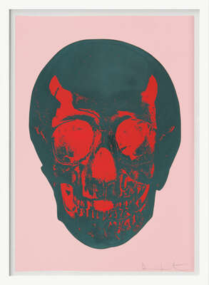 Till Death Do Us Part - Candy Floss - Pink Racing Green Pigment Red Pop Skull von Damien Hirst
