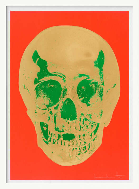 Till Death Do Us Part - Time - Bright Orange African Gold Emerald Green Pop Up Skull by Damien Hirst