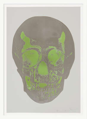 Till Death Do Us Part - Dove Grey Gunmetal Leaf Green Skull by Damien Hirst
