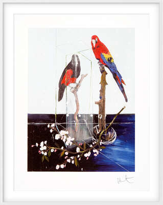 Art Prints: LUMAS paintings: Two Birds with Blossom by Damien Hirst