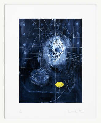 Skull with Ashtray and Lemon by Damien Hirst