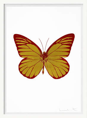 The Souls I - Oriental Gold Blind Impression Chilli Red by Damien Hirst