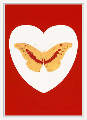 I Love You - white, red cool gold, poppy red von Damien Hirst