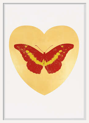 I Love You - gold leaf, poppy red, oriental gold by Damien Hirst