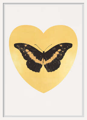 I Love You - gold leaf, black, cool gold von Damien Hirst